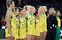 15.09.2018 Action during the Australia v South Africa netball test match at Spark Arena in Auckland. Mandatory Photo Credit ©Michael Bradley.