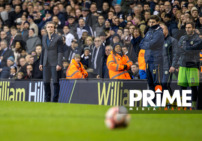 Wycombe Wanderers Manager Gareth Ainsworth and Maurizio Pochettino manager of Tottenham Hotspur during the FA Cup 4th round match between Tottenham Hotspur and Wycombe Wanderers at White Hart Lane, London, England on the 28th January 2017. Photo by Liam McAvoy.