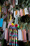 July 7, 2012, Tokyo, Japan - Many colorful paper strips (Tanzaku) hung on bamboo stalks at Tanabata Festival this July 7 at the Tokyo Daijingu shrine. The annual celebration of Tanabata in Japan has been held since the Edo era. It celebrates the meeting of two lovers Orihime and Hikoboshi, according to legend that Milky Way separates these lovers, and may only meet once a year on the seventh day of the seventh month of calendar. (Photo by Rodrigo Reyes Marin/AFLO)