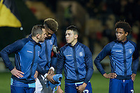 Paul Hayes speaks with Luke O'Nien as the teams line up ahead of the Sky Bet League 2 match between Newport County and Wycombe Wanderers at Rodney Parade, Newport, Wales on 22 November 2016. Photo by Mark  Hawkins.