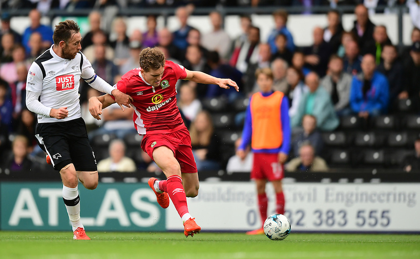 Blackburn Rovers' Sam Gallagher vies for possession with Derby County's Richard Keogh<br /> <br /> Photographer Chris Vaughan/CameraSport<br /> <br /> The EFL Sky Bet Championship - Derby County v Blackburn Rovers  - Saturday 24th September 2016 - iPro Stadium - Derby<br /> <br /> World Copyright &copy; 2016 CameraSport. All rights reserved. 43 Linden Ave. Countesthorpe. Leicester. England. LE8 5PG - Tel: +44 (0) 116 277 4147 - admin@camerasport.com - www.camerasport.com