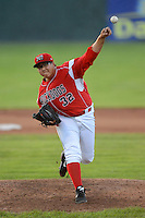 Batavia Muckdogs pitcher Beau Wright #32 during a game against the Auburn Doubledays on June 18, 2013 at Dwyer Stadium in Batavia, New York.  Batavia defeated Auburn 10-2.  (Mike Janes/Four Seam Images)