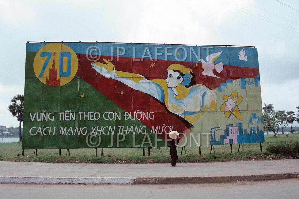 Hanoi, February 1988. A political poster.