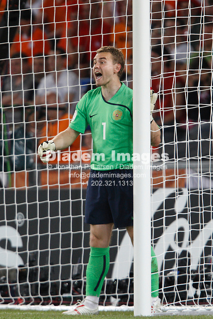 BASEL, SWITZERLAND - JUNE 21:  Goalkeeper Igor Akinfeev of Russia shouts instructions to his team during a UEFA Euro 2008 quarterfinal match against the Netherlands at St. Jakob Park June 21, 2008 in Basel, Switzerland.  (Photograph by Jonathan P. Larsen)