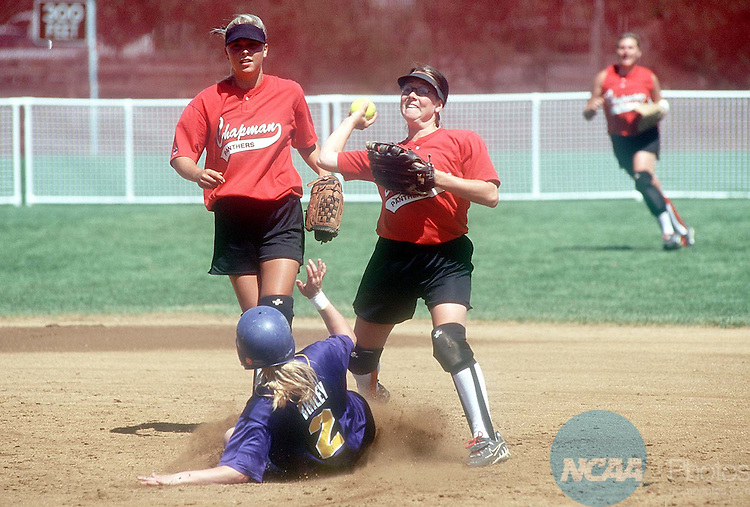 18 MAY 1998:  Cindy Bemis (23) of Chapman looks to throw the ball home after getting Cari Briley (2) of Wisconsinâ??Stevens Point out at second base during the Division III Women's Softball Championship held at the James I. Moyer Sports Complex in Salem, VA. The University of Wisconsinâ??Stevens Point defeated Chapman 3-1 for the championship title. Andres Alonso/NCAA Photos.