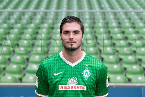 29.07.2013. Bremen, Germany.  The picture shows German Soccer Bundesliga club SV Werder Bremen's Denni Avdic during the official photocall for the season 2013-14 in Bremen.