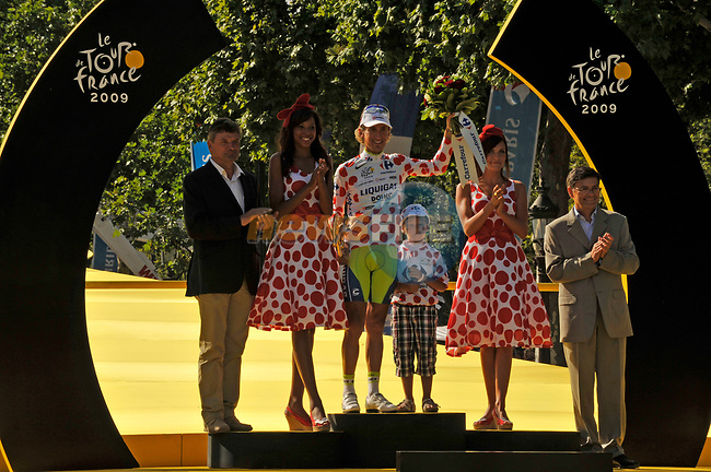Polka Dot Jersey winner Franco Pellizotti (ITA) Liquigas on he podium at the end of the final Stage 21 of the 2009 Tour de France running 164km from Montereau-Fault-Yonne to Paris Champs-Elysees, France. 26th July 2009 (Photo by Eoin Clarke/NEWSFILE)