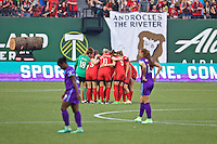 Portland, Oregon - Sunday April 17, 2016: The Portland Thorns FC huddle. The Portland Thorns play the Orlando Pride during a regular season NWSL match at Providence Park. The Thorns won 2-1.