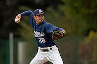 03 october 2009: Starting pitcher Pierrick Le Mestre of Savigny pitches against Rouen during game 1 of the 2009 French Elite Finals won 6-5 by Rouen over Savigny in the 11th inning, at Stade Pierre Rolland stadium in Rouen, France.