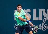 MILOS RAONIC (CAN)<br /> <br /> BRISBANE INTERNATIONAL, PAT RAFTER ARENA, BRISBANE TENNIS CENTRE, BRISBANE, QUEENSLAND, AUSTRALIA, ATP, WTA, Hard Court, Outside, Men's tennis, Women's tennis, Men's singles, women's singles, men's doubles, women's doubles.<br /> <br /> &copy; TENNIS PHOTO NETWORK