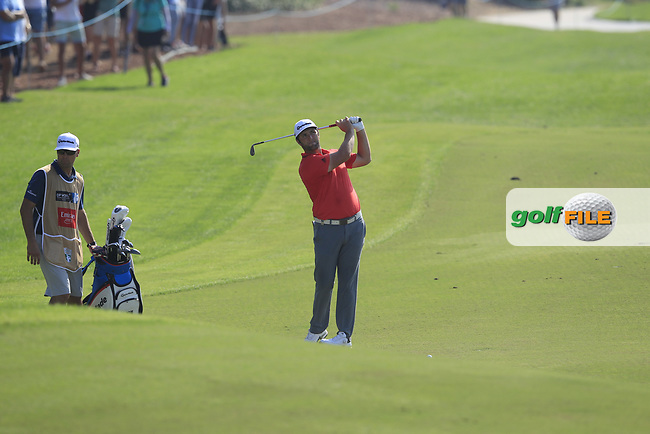 Jon Rahm (ESP) on the 15th fairway during the final round of the DP World Tour Championship, Jumeirah Golf Estates, Dubai, United Arab Emirates. 18/11/2018<br /> Picture: Golffile | Fran Caffrey<br /> <br /> <br /> All photo usage must carry mandatory copyright credit (&copy; Golffile | Fran Caffrey)