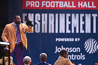 Canton, OH - August 4, 2018: Former Baltimore Ravens linebacker Ray Lewis gives his enshrinement speech at the Pro Football Hall of Fame in Canton, Ohio August 4, 2018.  (Photo by Don Baxter/Media Images International)
