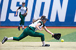 21 MAY 2016:  Cyndi Chavez (2) of Humboldt State University knocks down a hit to keep it in the infield against the University of North Alabama during the Division II Women's Softball Championship held at the Regency Athletic Complex on the Metro State University campus in Denver, CO.  North Alabama defeated Humboldt State 10-1 to force a game three.  Jamie Schwaberow/NCAA Photos