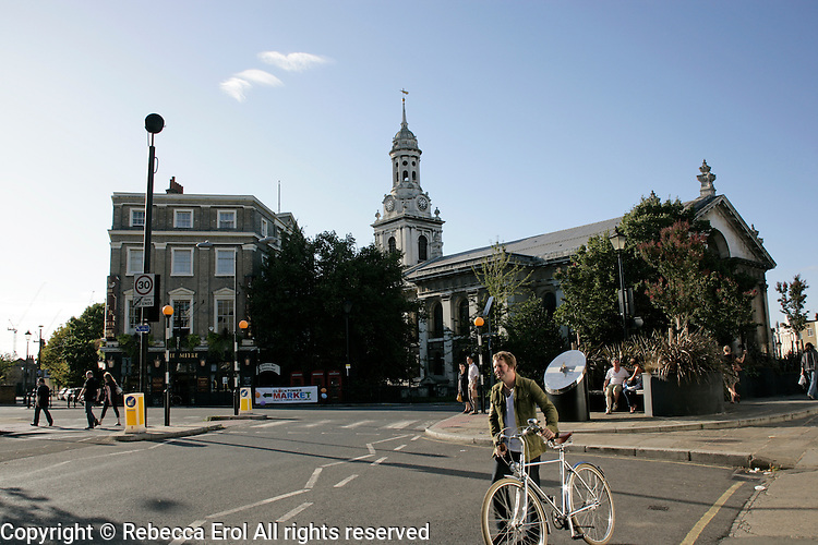 Greenwich town centre and St Alfege's Church, southeast London, UK
