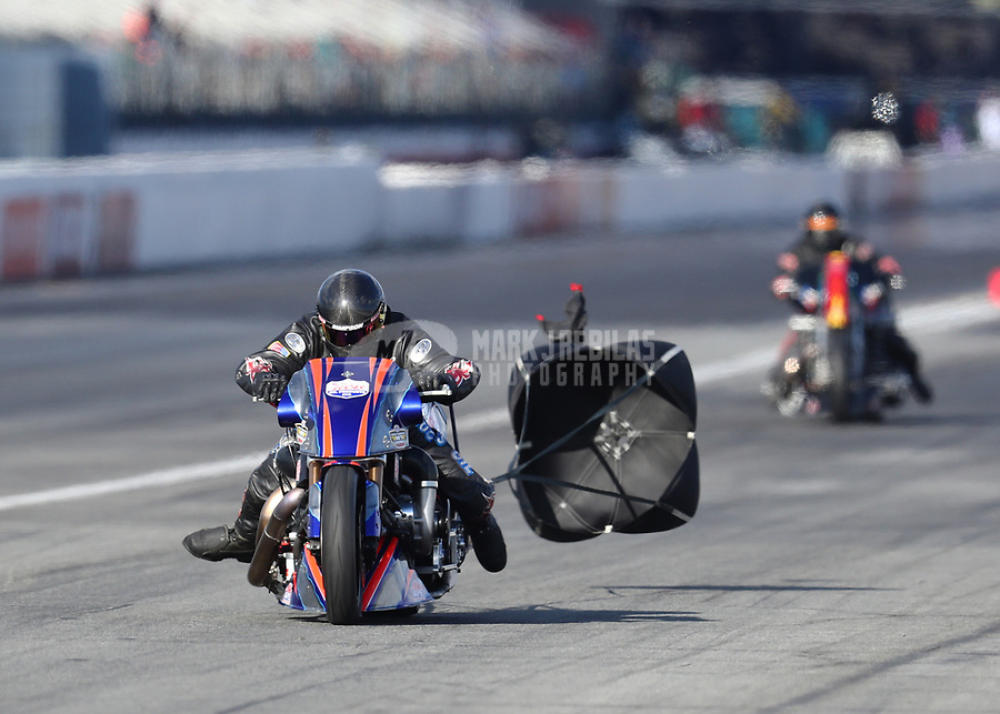 Feb 9, 2019; Pomona, CA, USA; NHRA top fuel Harley Davidson nitro motorcycle rider Jay Turner during the Winternationals at Auto Club Raceway at Pomona. Mandatory Credit: Mark J. Rebilas-USA TODAY Sports