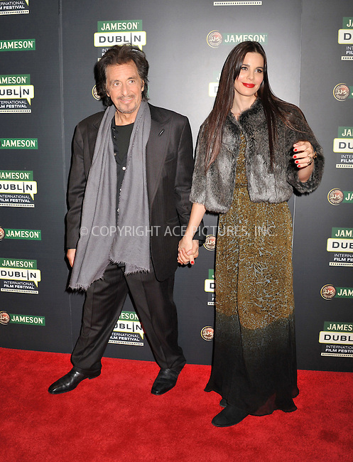 WWW.ACEPIXS.COM . . . . .  ..... . . . . US SALES ONLY . . . . .....February 20 2012, Dublin....Al Pacino and his girlfriend Lucila Polak Sola at a screening of 'Wilde Salome' during the Dublin International Film Festival on February 20 2012 in Ireland....Please byline: FAMOUS-ACE PICTURES... . . . .  ....Ace Pictures, Inc:  ..Tel: (212) 243-8787..e-mail: info@acepixs.com..web: http://www.acepixs.com