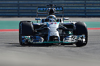 Lewis Hamilton of Mercedes AMG Petronas F1 driving (44) F1 WO5 Hybrid, during first practice session of  2014 Formula 1 United States Grand Prix, Friday, October 31, 2014 in Austin, Tex. (Mo Khursheed/TFV Media via AP Images)