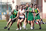 Santa Barbara, CA 02/13/10 - Bri Wright (Oregon #17) and Bridget Haby (Texas #23) in action during the Texas-Oregon game at the 2010 Santa Barbara Shoutout, Texas defeated Oregon 11-9.