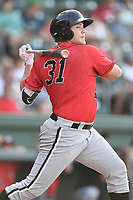 Third baseman Jake Burger (31) of the Kannapolis Intimidators bats in a game against the Greenville Drive on Wednesday, July 12, 2017, at Fluor Field at the West End in Greenville, South Carolina. Greenville won, 12-2. (Tom Priddy/Four Seam Images)
