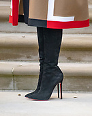 "Boots worn by First lady Melania Trump as she and United States President Donald J. Trump host the National Thanksgiving Turkey Pardoning Ceremony in the Rose Garden of the White House in Washington, DC on Tuesday, November 20, 2018.  According to the White House Historical Association, the ceremony originated in 1863 when US President Abraham Lincoln's granted clemency to a turkey. The tradition jelled in 1989 when US President George HW Bush stated ""But let me assure you, and this fine tom turkey, that he will not end up on anyone's dinner table, not this guy -- he's granted a Presidential pardon as of right now -- and allow him to live out his days on a children's farm not far from here.""<br /> Credit: Ron Sachs / CNP<br /> (RESTRICTION: NO New York or New Jersey Newspapers or newspapers within a 75 mile radius of New York City)"