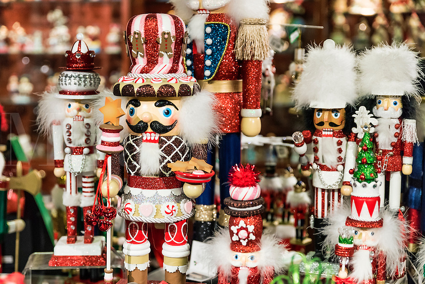 Christmas Nutcracker figurines in a holiday shop.