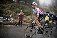 Josef Černý (CZE/CCC) up the extremely wet, cold & misty Cole di Mortirolo <br /> <br /> Stage 16: Lovere to Ponte di Legno (194km)<br /> 102nd Giro d'Italia 2019<br /> <br /> ©kramon
