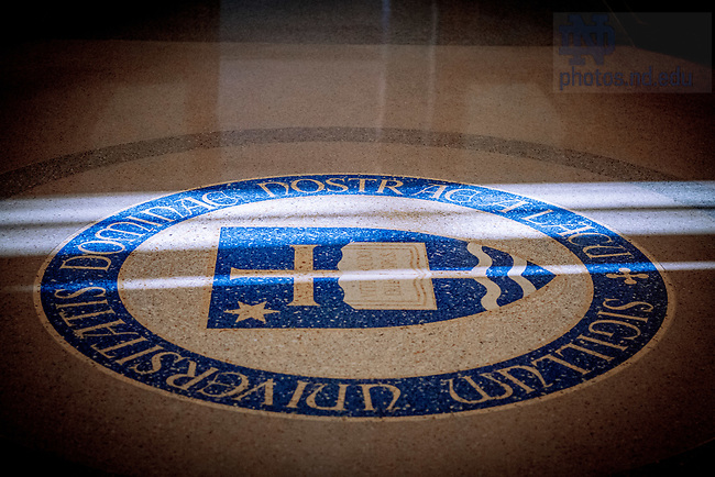 March 22, 2018; University Seal in the floor in Stinson Remick Hall (Photo by Matt Cashore/University of Notre Dame)
