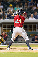 Kyle Roller (23) of the Scranton/Wilkes-Barre RailRiders at bat against the Charlotte Knights at BB&T Ballpark on July 17, 2014 in Charlotte, North Carolina.  The Knights defeated the RailRiders 9-5.  (Brian Westerholt/Four Seam Images)