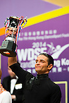 Aniello Langella celebrates winning the WDSF GrandSlam Latin on the Day 1 of the WDSF GrandSlam Hong Kong 2014 on May 31, 2014 at the Queen Elizabeth Stadium Arena in Hong Kong, China. Photo by AItor Alcalde / Power Sport Images