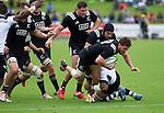Tawera Kerr-Barlow carries the ball. Maori All Blacks vs. Fiji. Suva. July 11, 2015. Photo: Marc Weakley