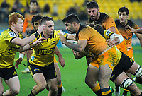 Jaguares captain Jeronimo De La Fuente is wrapped up during the Super Rugby match between the Hurricanes and Jaguares at Westpac Stadium in Wellington, New Zealand on Friday, 17 May 2019. Photo: Dave Lintott / lintottphoto.co.nz