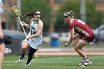 RICHMOND, VA - APRIL 27: Notre Dame's Heidi Annaheim (14) and Boston College's Dempsey Arsenault (18). The Notre Dame Fighting Irish played the Boston College Eagles on April 27, 2017, at Sports Backers Stadium in Richmond, VA in an ACC Women's Lacrosse Tournament quarterfinal match. Boston College won the game 17-14.