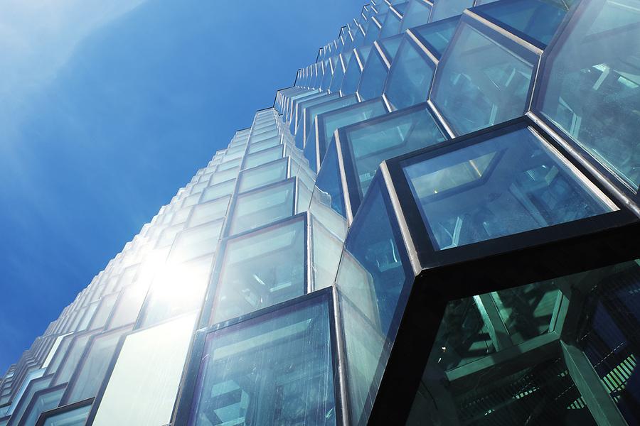 Glass facade of Harpa Concert Hall, Reykjavik, Iceland