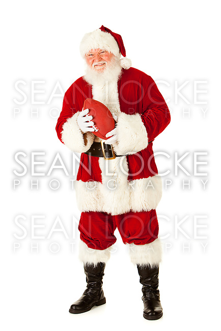 Extensive series of an isolated on white, Caucasian, authentic Santa Claus.