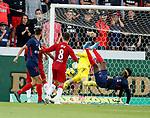 08.08.2019 FC Midtjylland v Rangers: Allan McGregor saves from Sory Kaba