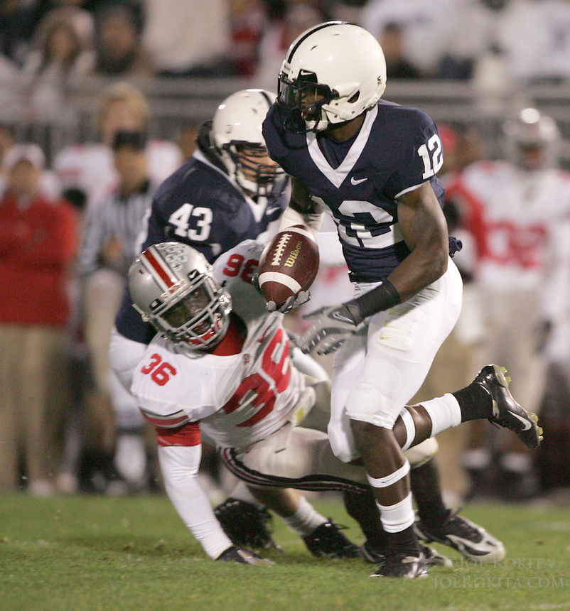State College, PA -- 10/27/2007 -- Penn State kickoff returner A.J. Wallace (12) zips by Ohio State defender Brian Rolle to begin a 97 yard return for a touchdown in the 4th quarter of the game.  Ohio State defeated Penn State by a score of 37-17 on Saturday, October 27, 2007, at Beaver Stadium...Photo:  Joe Rokita / JoeRokita.com