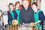 HEALTHY: Transition students from Causeway Comprehensive School held an evening of Healthy Eating at their school on Tuesday evening with Chef Frank Moynihan. Giving Frank a hand were, l-r: Michelle Diggins (Causeway), Jean Ann O'Connell (Abbeydorney) and Donna O'Sullivan (Causeway). .