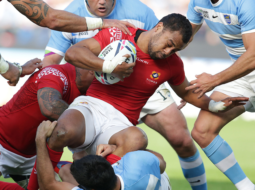 Tonga's Telusa Veainu<br /> <br /> Photographer Stephen White/CameraSport<br /> <br /> Rugby Union - 2015 Rugby World Cup Pool C - Argentina v Tonga - Sunday 4th October 2015 - King Power Stadium - Leicester <br /> <br /> &copy; CameraSport - 43 Linden Ave. Countesthorpe. Leicester. England. LE8 5PG - Tel: +44 (0) 116 277 4147 - admin@camerasport.com - www.camerasport.com