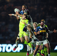 Aaron Morris of Harlequins competes with Will Addison of Sale Sharks for the ball in the air. Anglo-Welsh Cup match, between Harlequins and Sale Sharks on February 3, 2017 at the Twickenham Stoop in London, England. Photo by: Patrick Khachfe / JMP