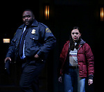"Brian Tyree Henry and Bel Powley taking their first performance curtain call bow for ""Lobby Hero"", marking Evans' Broadway debut and the inaugural performance at Second Stage's Hayes Theater on March 1, 2018 at The Hayes Theatre in New York City."
