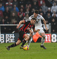 Bournemouth's Ryan Fraser (left) under pressure from Wolverhampton Wanderers' Matt Doherty (right)  <br /> <br /> Photographer David Horton/CameraSport<br /> <br /> The Premier League - Bournemouth v Wolverhampton Wanderers - Saturday 23 February 2019 - Vitality Stadium - Bournemouth<br /> <br /> World Copyright © 2019 CameraSport. All rights reserved. 43 Linden Ave. Countesthorpe. Leicester. England. LE8 5PG - Tel: +44 (0) 116 277 4147 - admin@camerasport.com - www.camerasport.com
