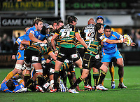 Aviva Premiership. Northampton, England. Lee Dickson of Northampton Saints clears the ball  during the Aviva Premiership match between Northampton Saints and London Wasps at Franklin's Gardens on September 28. 2012 in Northampton, England.