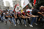 Lebanese protesters chant slogans during an anti-US demonstration outside the United States' Embassy headquarters in Awkar, northeast of the capital Beirut on July 10, 2020. Photo by Marwan Tahtah