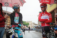 2013 Giro d'Italia.stage 14: Cervere - Bardonecchia.168km..pink jersey Vincenzo Nibali (ITA) & red jersey Mark Cavendish (GBR) at the start