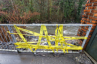 Pictured: A railing which had to be cut off to relieve the pressure of the flood by Rhondda river in Porth. Wednesday 04 March 2020<br /> Re: Revisiting the flood affected areas in Pontypridd, Wales, UK.