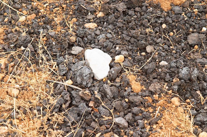 Natural goat fertilizer. Domaine de la Garance. Pezenas region. Languedoc. Terroir soil. France. Europe. Vineyard.
