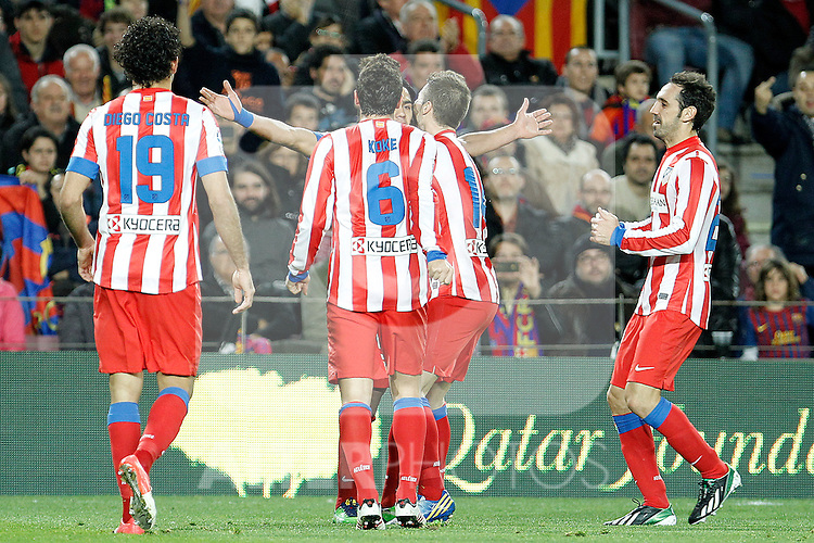Atletico de Madrid's Diego Costa, Koke, Radamel Falcao, Gabi Fernandez and Juanfran Torres celebrate goal during La Liga match.December 16,2012. (ALTERPHOTOS/Acero)