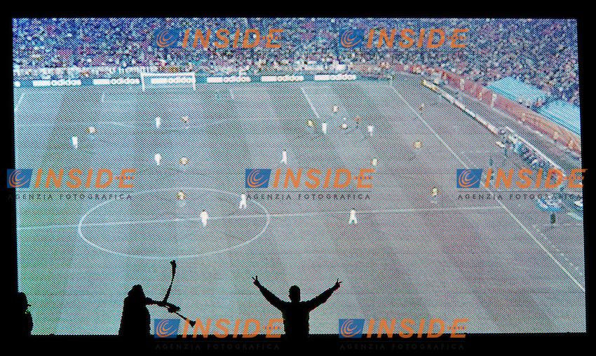 Tifosi Supporters davanti al maxischermo<br /> Brasile Cile 3-0 - Brazil vs Chile 3-0<br /> Campionati del Mondo di Calcio Sudafrica 2010 - World Cup South Africa 2010<br /> Ellis Park Stadium, Johannesburg, 28 / 06 / 2010<br /> &copy; Giorgio Perottino / Insidefoto