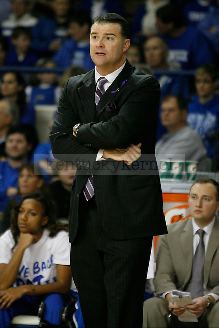 UK Coach Matthew Mitchell anxiously watching his players during the first half of the UK Hoops vs. Auburn women's basketball game at Memorial Coliseum on Sunday, January 20, 2013, in Lexington, Ky. Photo by Kalyn Bradford | Staff