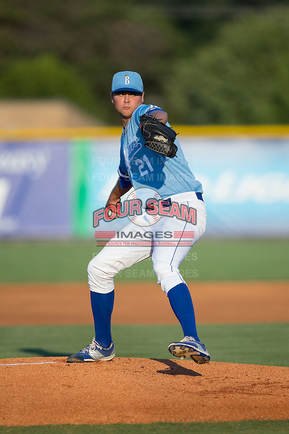 Burlington Royals starting pitcher Alex Luna (21) in action against the Danville Braves at Burlington Athletic Park on August 13, 2015 in Burlington, North Carolina.  The Braves defeated the Royals 6-3. (Brian Westerholt/Four Seam Images)